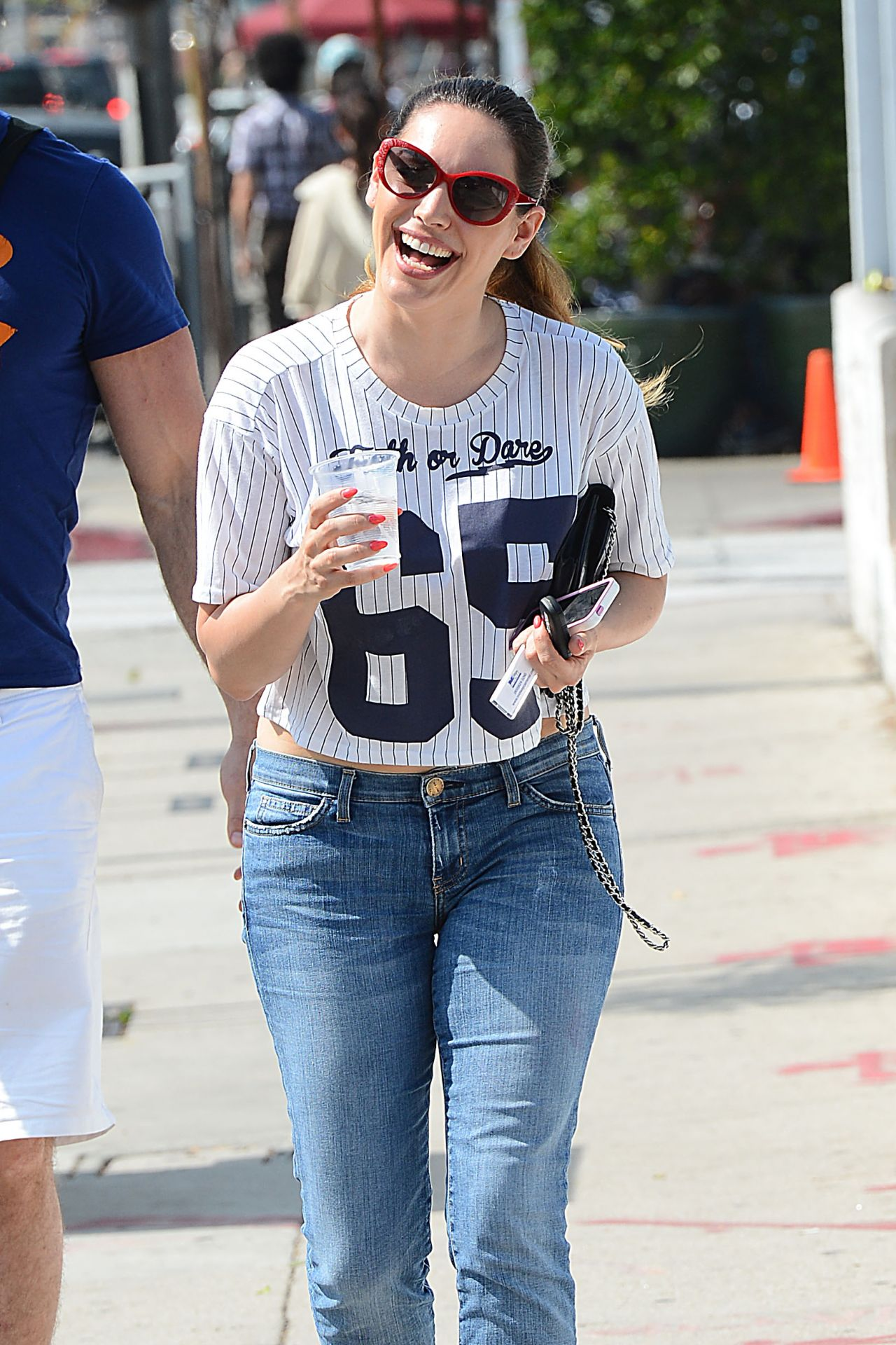 Kelly Brook in Jeans and Red Ancle Boots - Out in Los Angeles, March 2014