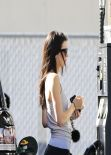 Kendall Jenner in Tights at a Gas Station in Calabasas, March 2014