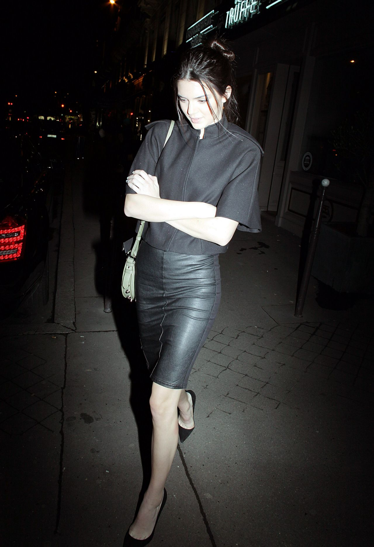 Kendall Jenner Street Style - Out in Paris (Leaving Caviar Kaspia Restaurant)