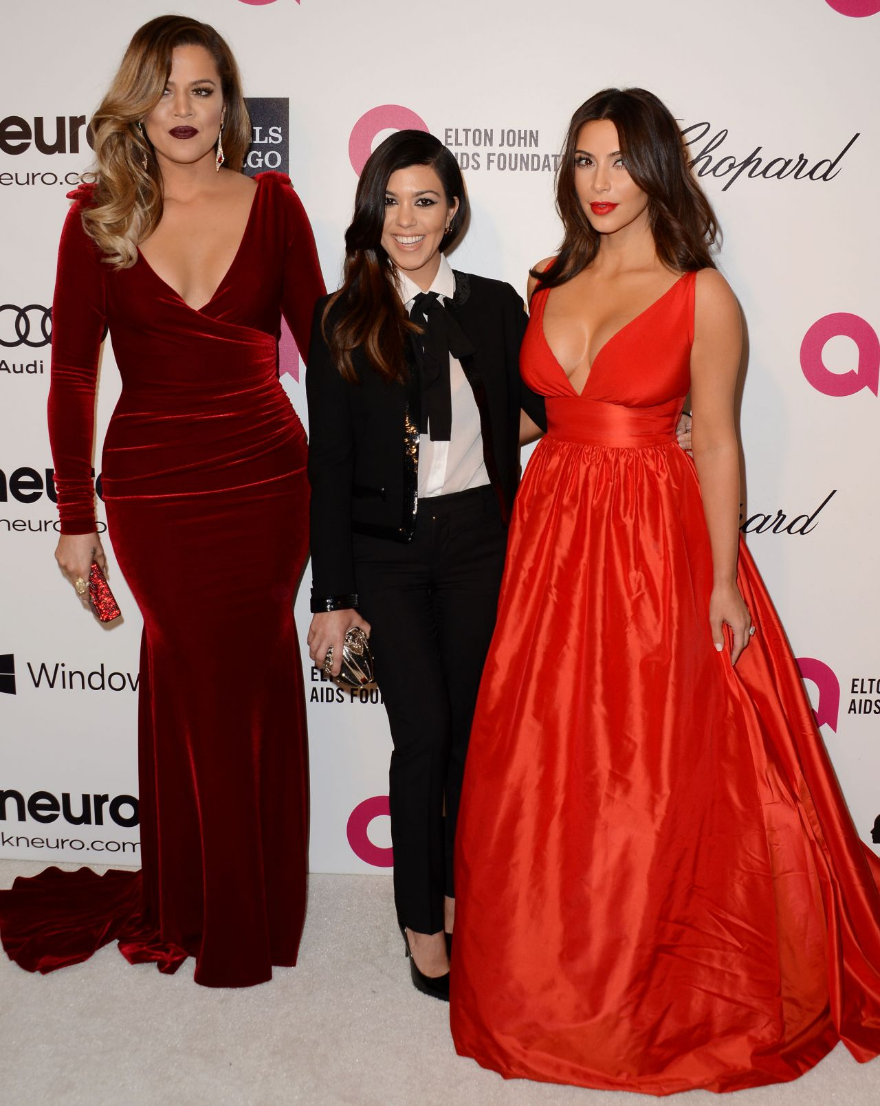 Khloe, Kim, Kourtney Kardashian - 2014 Elton John Oscar Party
