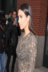 Kim Kardashian in Rachel Roy Long Sleeve See-Through Midi Dress -