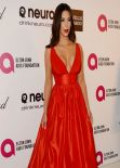 Kim Kardashian in Red Celia Kritharioti Dress - 2014 Elton John Oscar Party