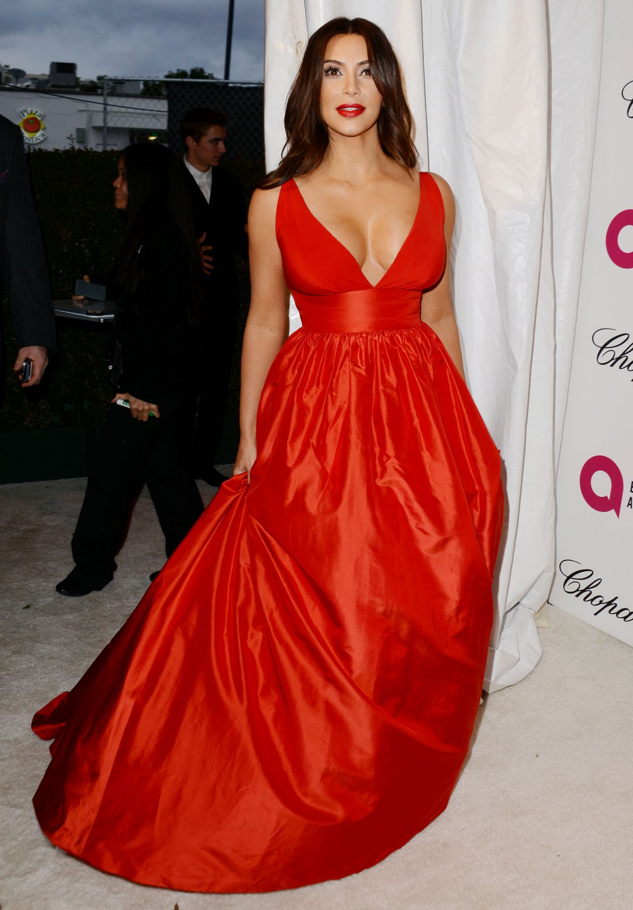 Kim kardashian in a red dress