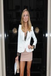 Kimberley Garner Shows Off Her Legs in Biege Minidress - London, March 2014