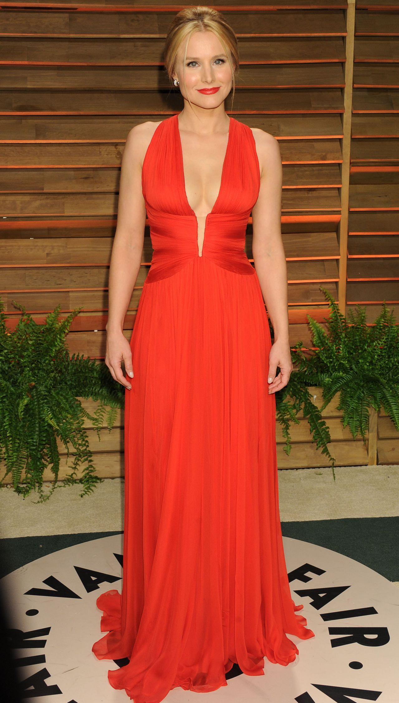 Kristen Bell In Zuhair Murad Red Gown 2014 Vanity Fair