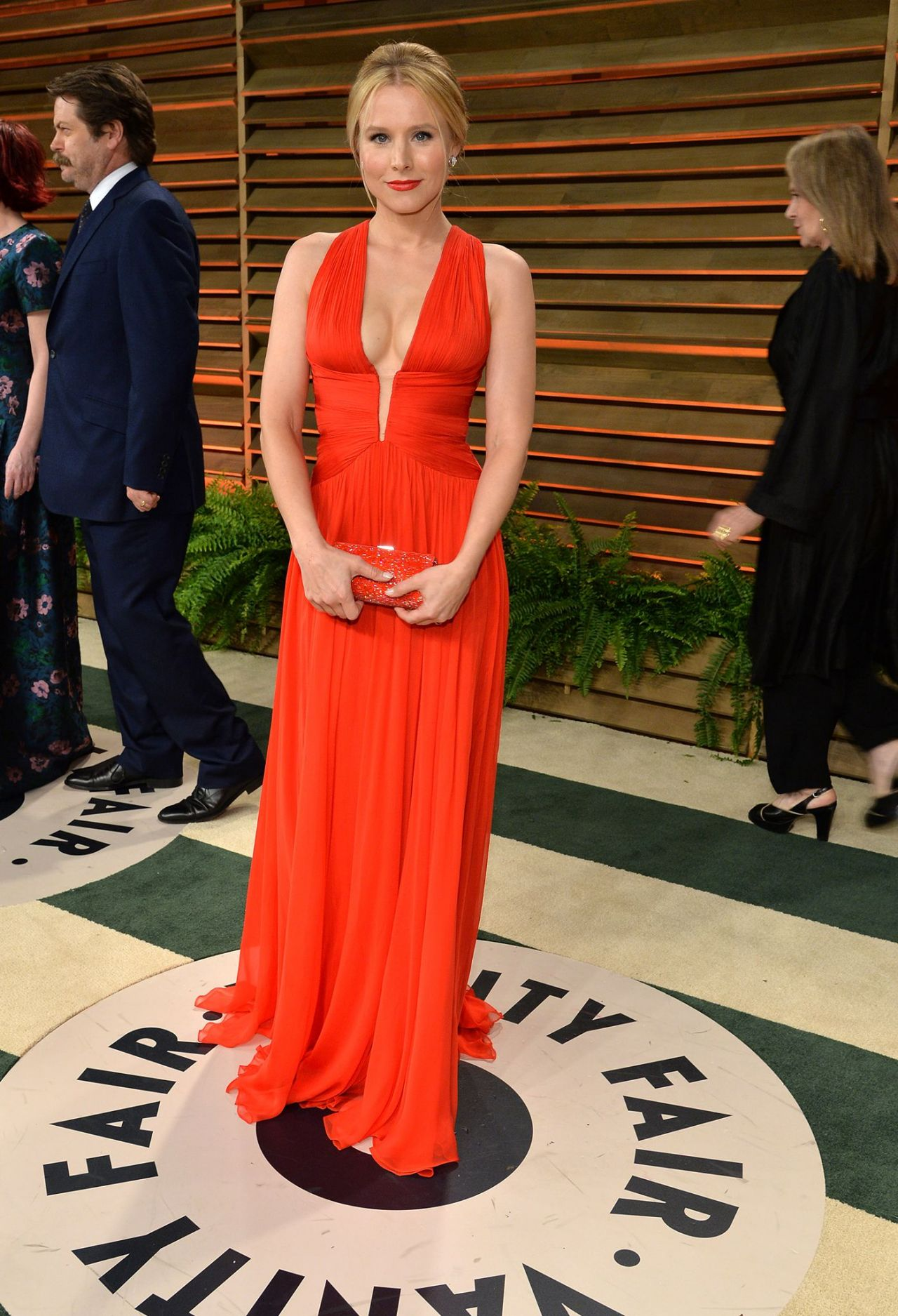 Kristen Bell In Zuhair Murad Red Gown 2014 Vanity Fair
