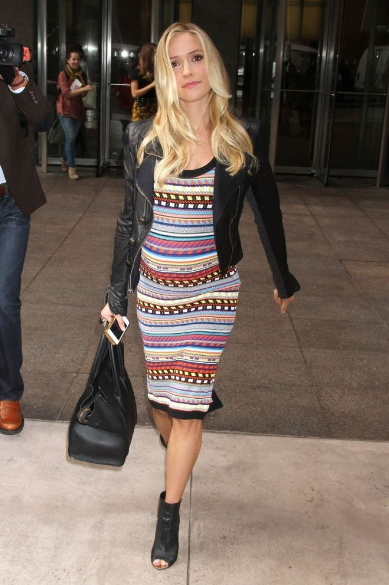 Kristin Cavallari in Emilio Pucci Stripe Knit Tank Dress - Leaving Sirius XM studios in New york City