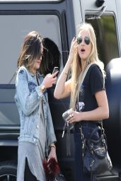 Kylie Jenner in Jeans Jacket - Leaving Sugarfish Sushi With a Girlfriend - March 2014