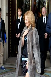 Kylie Minogue in Paris - Leaves Le Meurice Hotel - March 2014