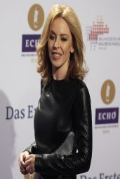 Kylie Minogue Wearing Anthony Vaccarello Long Sleeved Mini Dress - 2014 Echo Music Awards