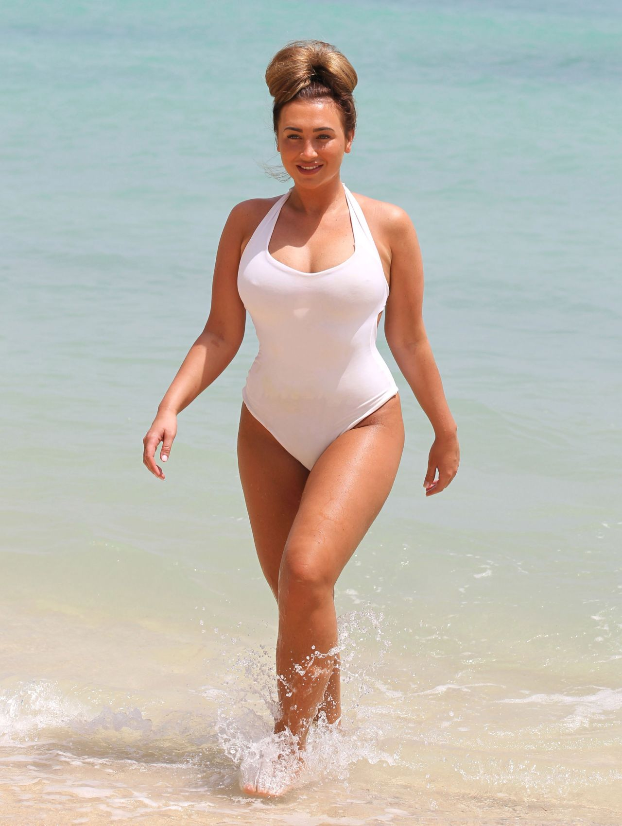 Lauren Goodger in White Swimsuit - Malibu, March 2014
