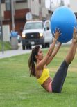Leilani Dowding in Los Angeles - Staged Park Work Out Session, March 2014