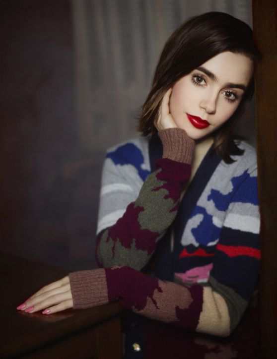 Lily Collins Photoshoot - Barrie Knitwear Collection 2014