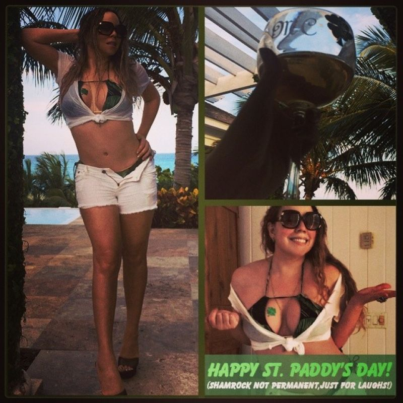 Mariah Carey Wearing a Bikini Celebrating St. Patrick