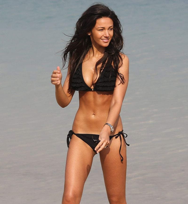 Michelle Keegan in Black Bikini - Dubai, March 2014