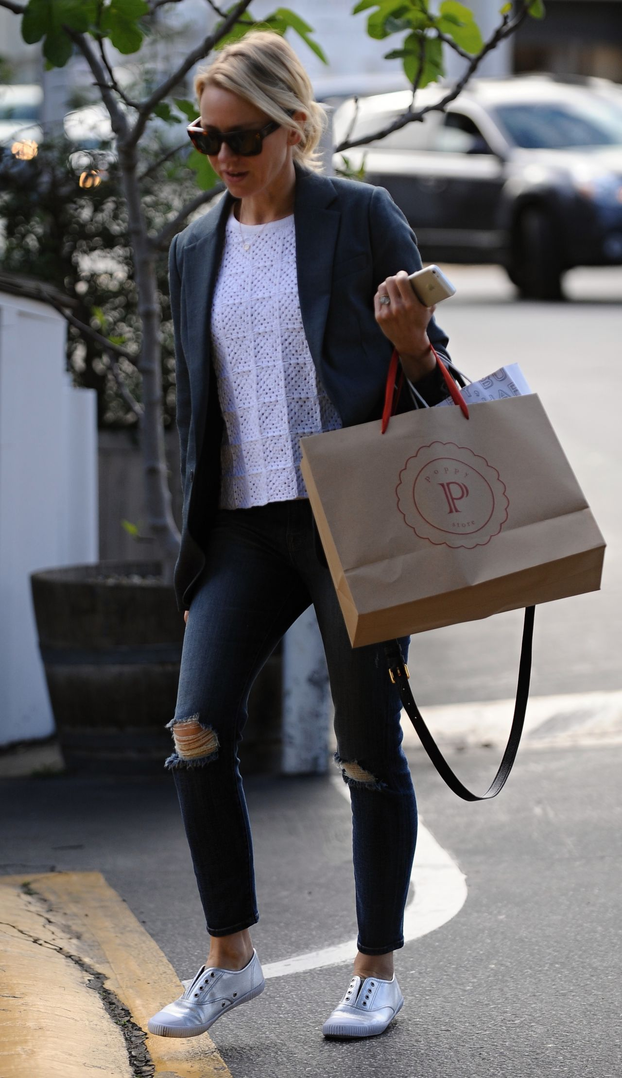 Watts in Ripped Jeans - Shopping at Brentwood Country Mart