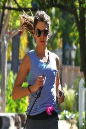 Nikki Reed Runs With Her Dog on the Streets in Los Angeles  - March 2014