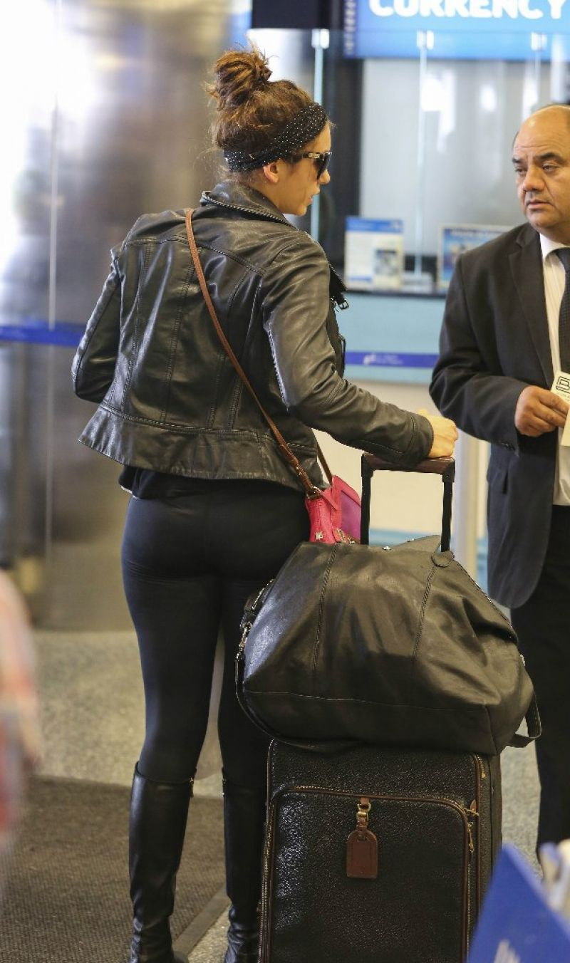 Nina Dobrev Booty In Tights At Lax Airport March 2014