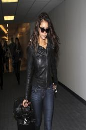 Nina Dobrev in Jeans at LAX Airport - March 2014
