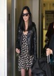 Olivia Munn in Mini Dress at LAX Airport, March 2014