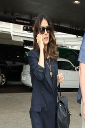 Salma Hayek Casual Style - LAX Airport - March 2014