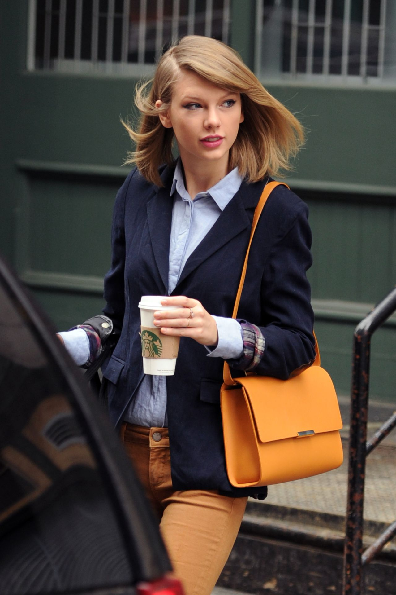 Tylor Swift Casual Dress Ups With Camel Brown Pent And Sky-Blue Shirt