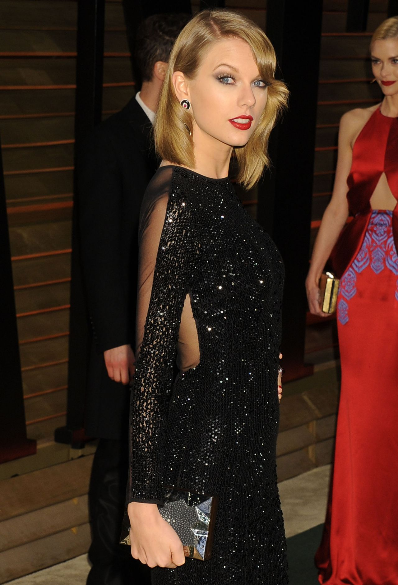 Taylor Swift in Black Sequin Julien Macdonald Floor-Length Gown ...