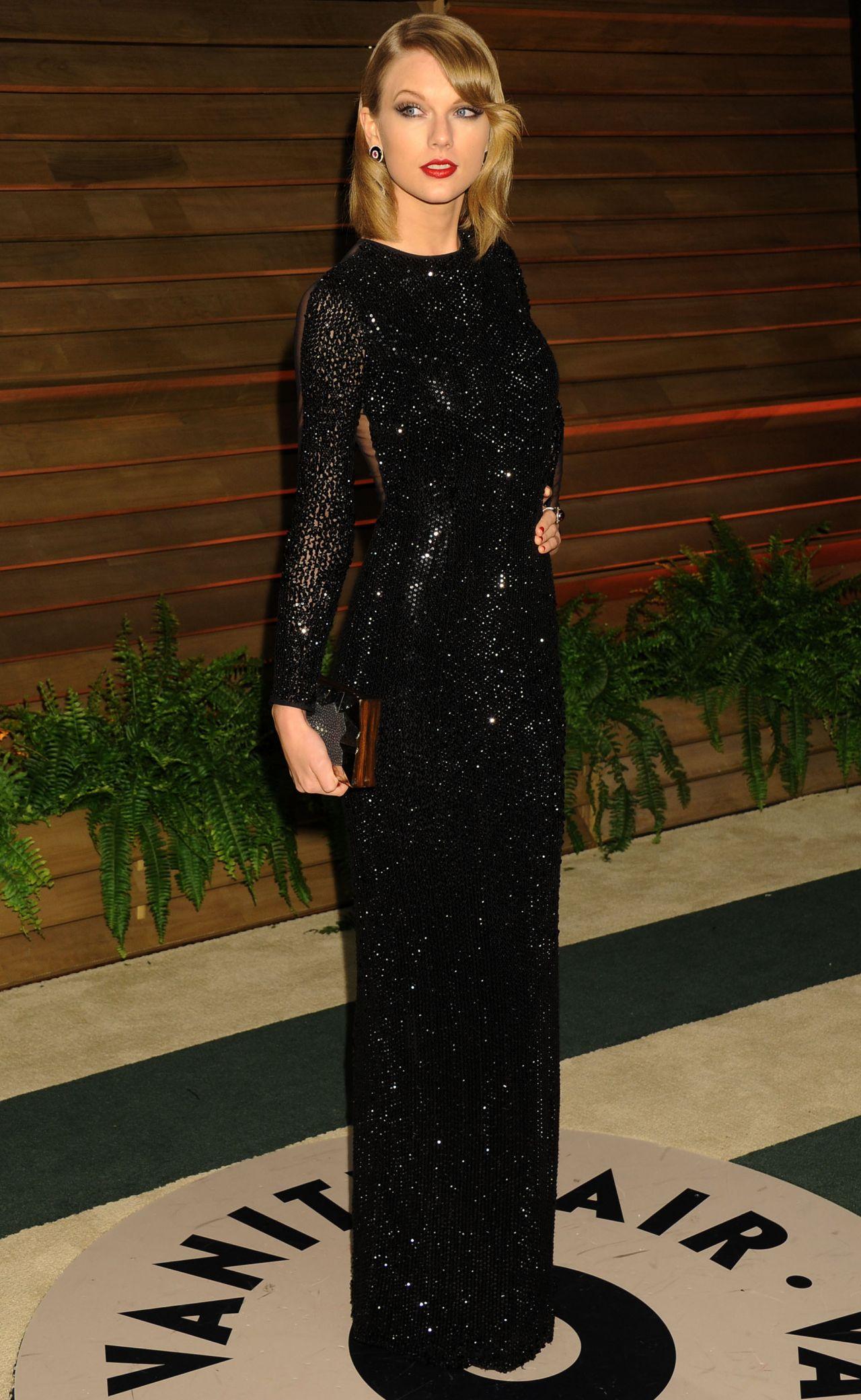 Taylor Swift In Black Sequin Julien Macdonald Floor Length