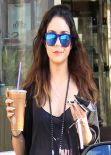 Vanessa Hudgens Casual Street Style - The Coffee Bean in Studio City