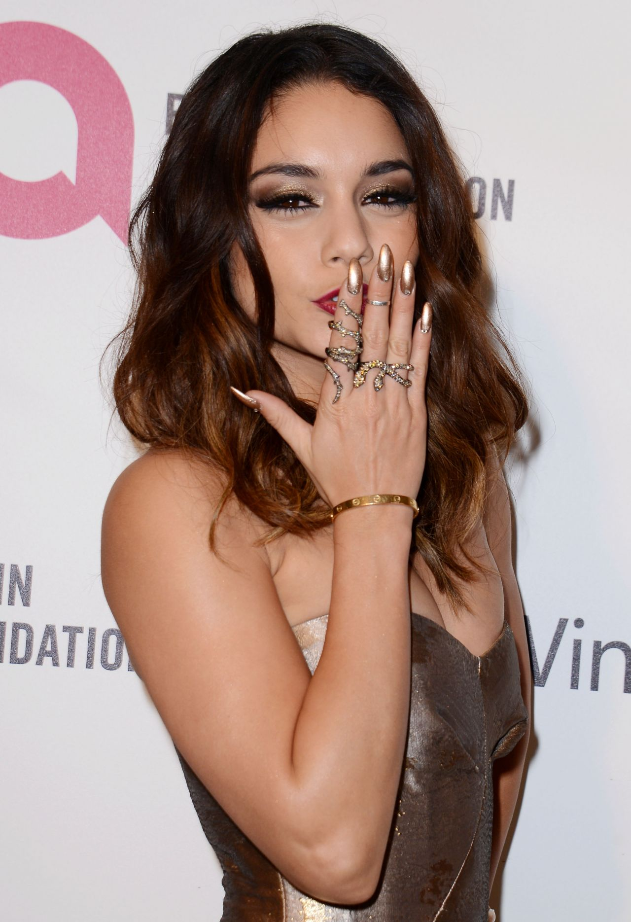 Vanessa Hudgens in Philosophy Strapless Gown - 2014 Elton John Oscar Party