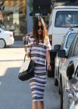 Vanessa Hudgens in Stripe Top and Skirt at Alfred Coffee & Kitchen in West Hollywood