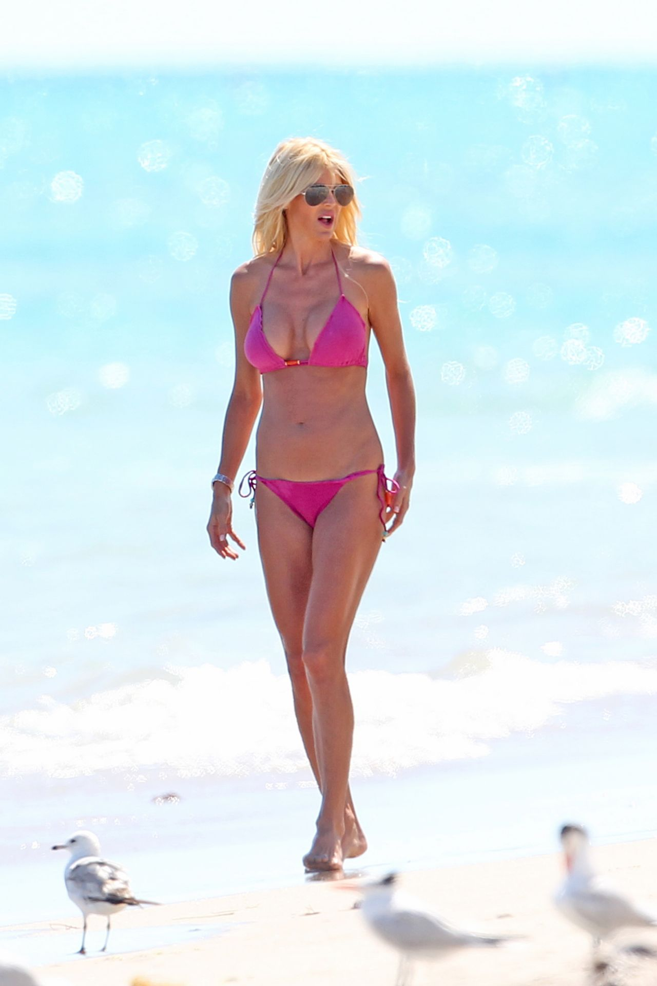Victoria Silvstedt in Pink Bikini - Miami Beach - March 2014