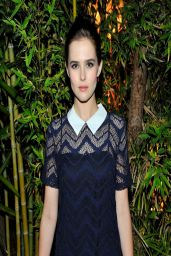 Zoey Deutch in Sandro 'Rodeo' Sheer Textured Navy Dress at Sandro Paris Celebration in Los Angeles