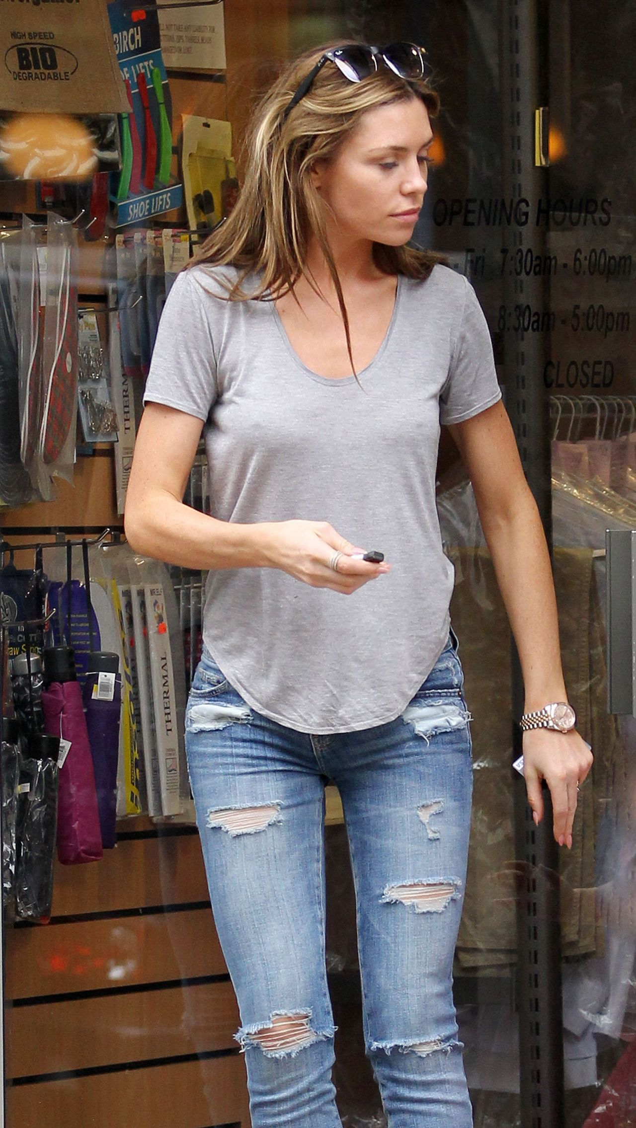 Abbey Clancy in Ripped Jeans - Out in London - April 2014