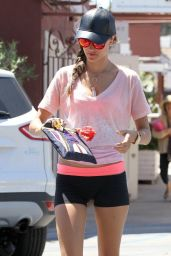 Alessandra Ambrosio Shows Off Her Legs in Tiny Shorts - Brentwood, April 2014