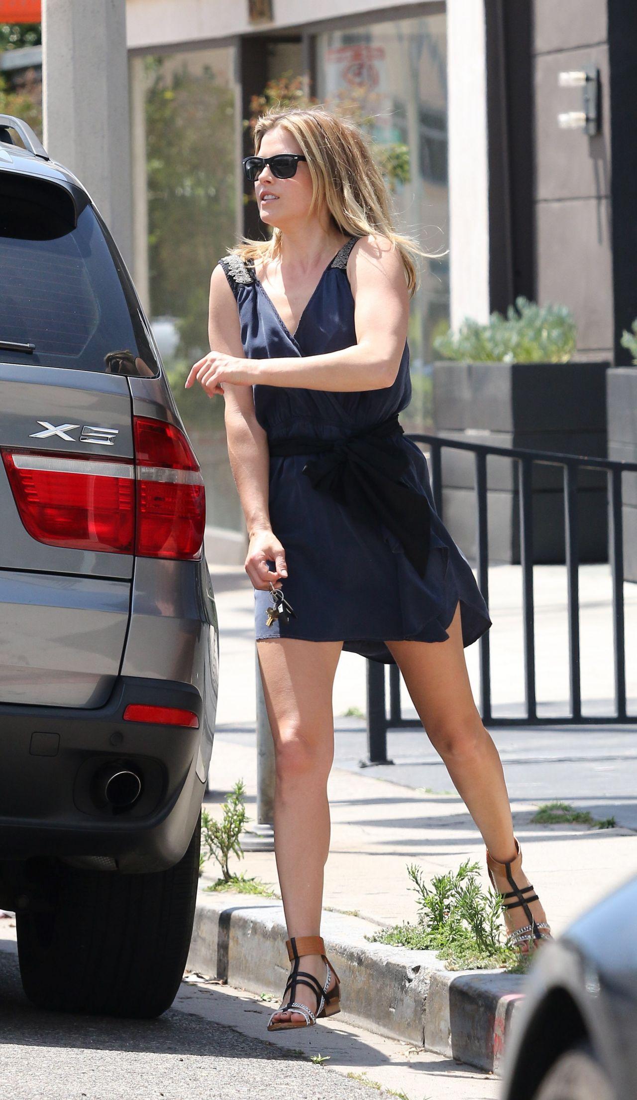 Ali Larter Shows Legs In Mini Dress Out In Los Angeles
