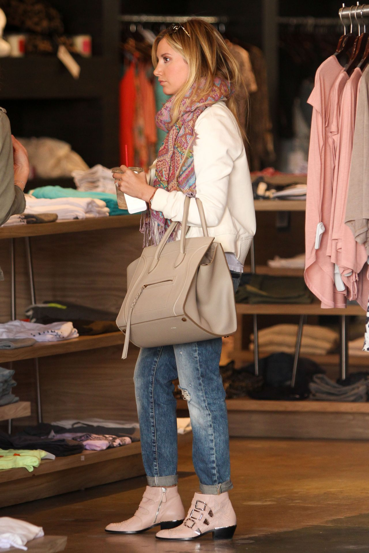 Ashley Tisdale Casual Style - Shopping at Planet Blue in ...