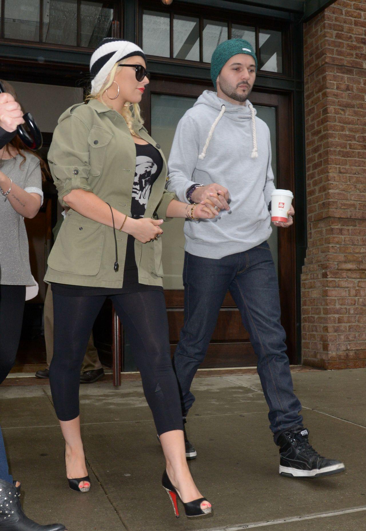 Christina Aguilera in Black Leggings - Out in NYC - April 2014