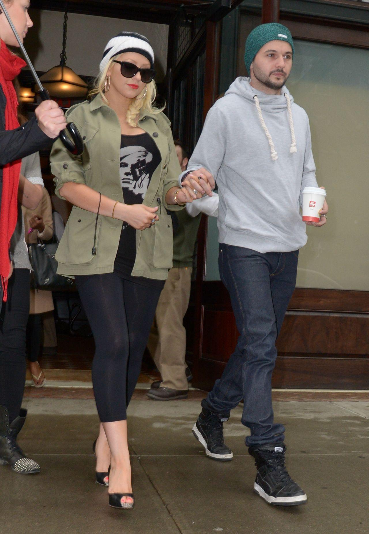 Christina Aguilera In Black Leggings Out In Nyc April 2014