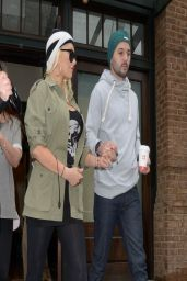 Christina Aguilera in Black Leggings - Out in NYC - April 2014