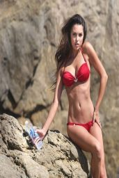 Constance Nunes in Red Bikini - Photoshoot Candids in Malibu