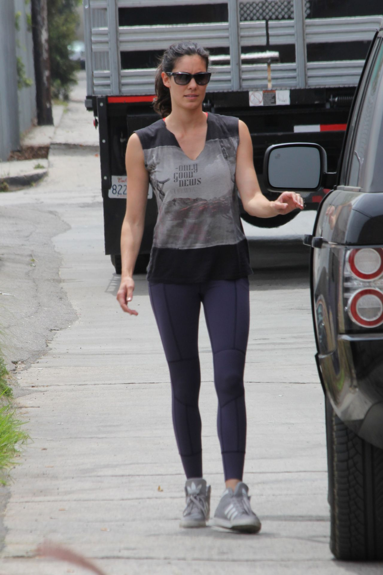 Daniela Ruah in Tights - Los Angeles Dog Works - April 2014