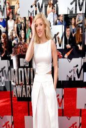 Ellie Goulding In Giorgio Armani White Dress - 2014 MTV Movie Awards