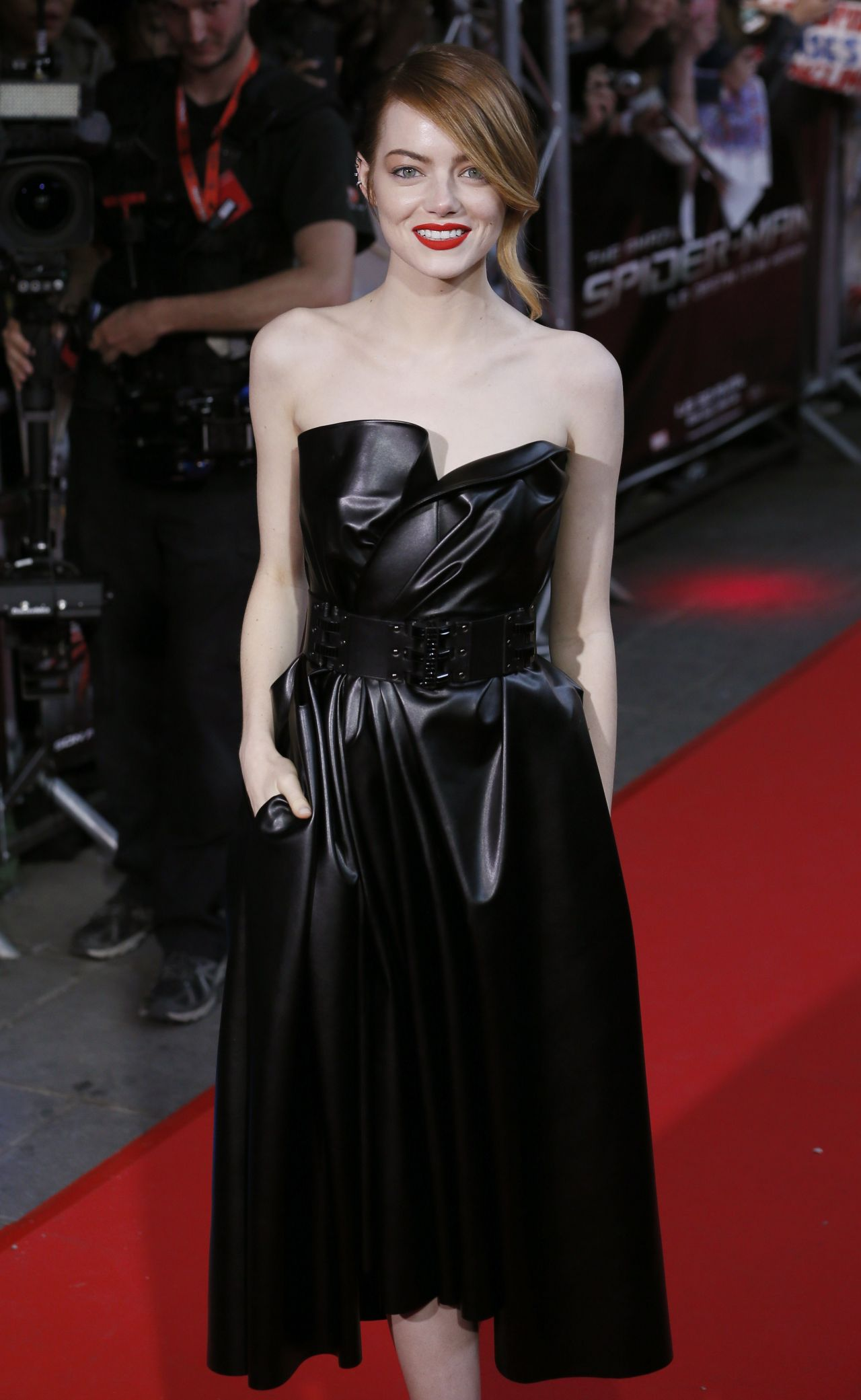 Emma Stone Wearing Lanvin Leather Dress The Amazing