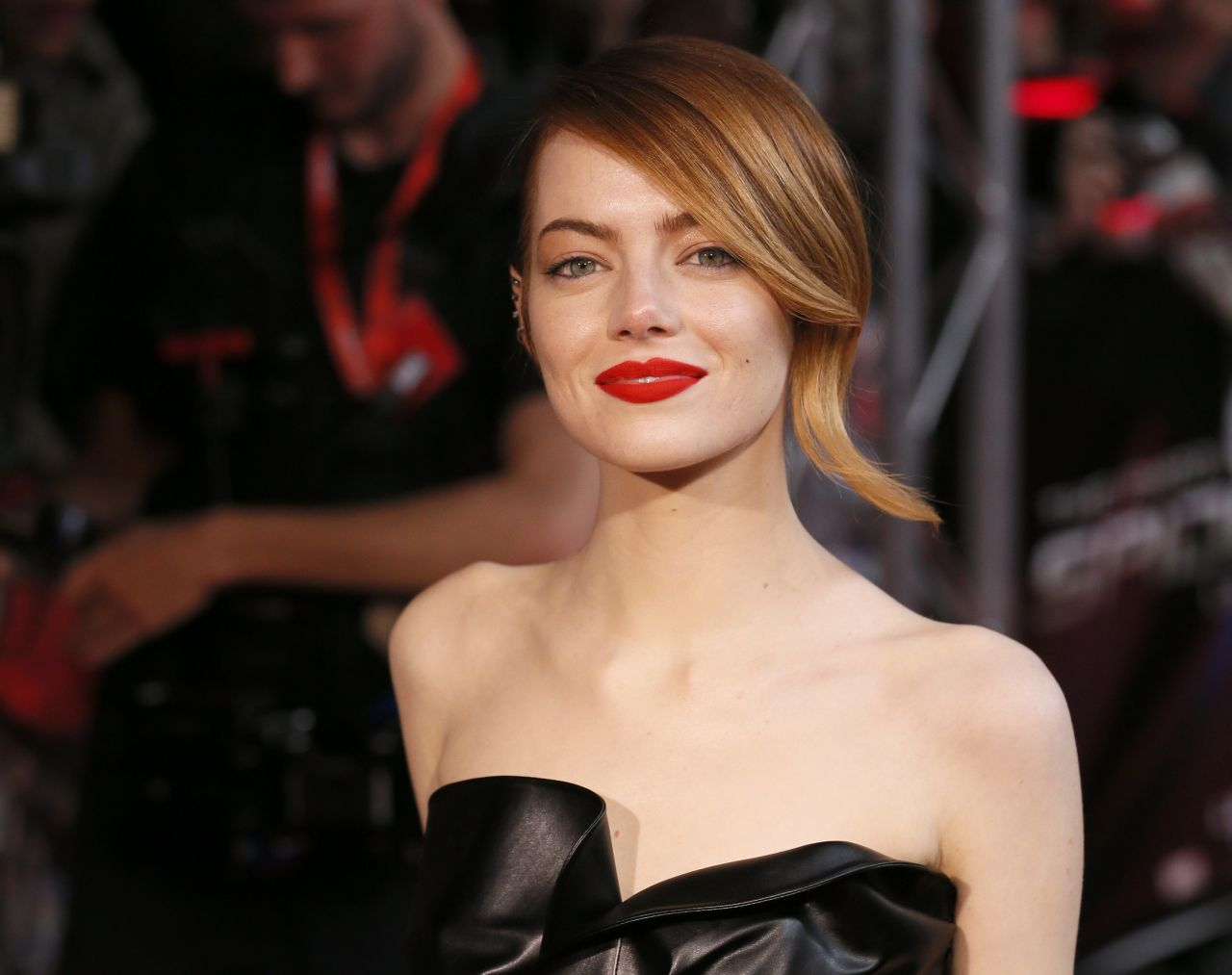 Emma Stone Wearing Lanvin Leather Dress - 'The Amazing ... Emma Stone