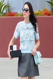 Emmy Rossum Wears a Short Skirt in Beverly Hills - Takes Cash Out of the ATM - April 2014