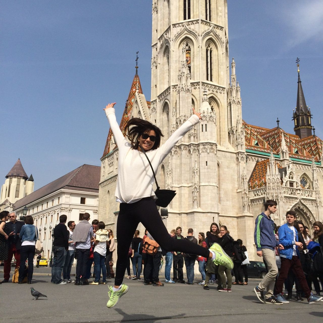 Eva Longoria in Budapest - Jumps for Joy - April 2014