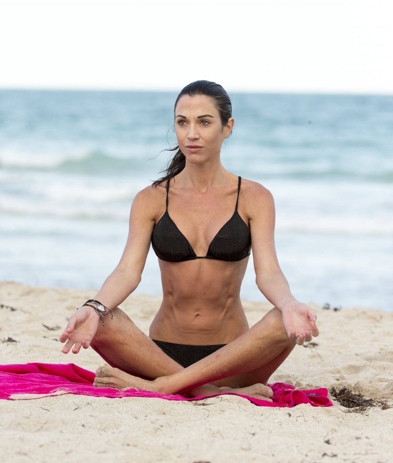 Federica Torti in a Bikini - Doing Yoga on the Beach in Miami - April 2014