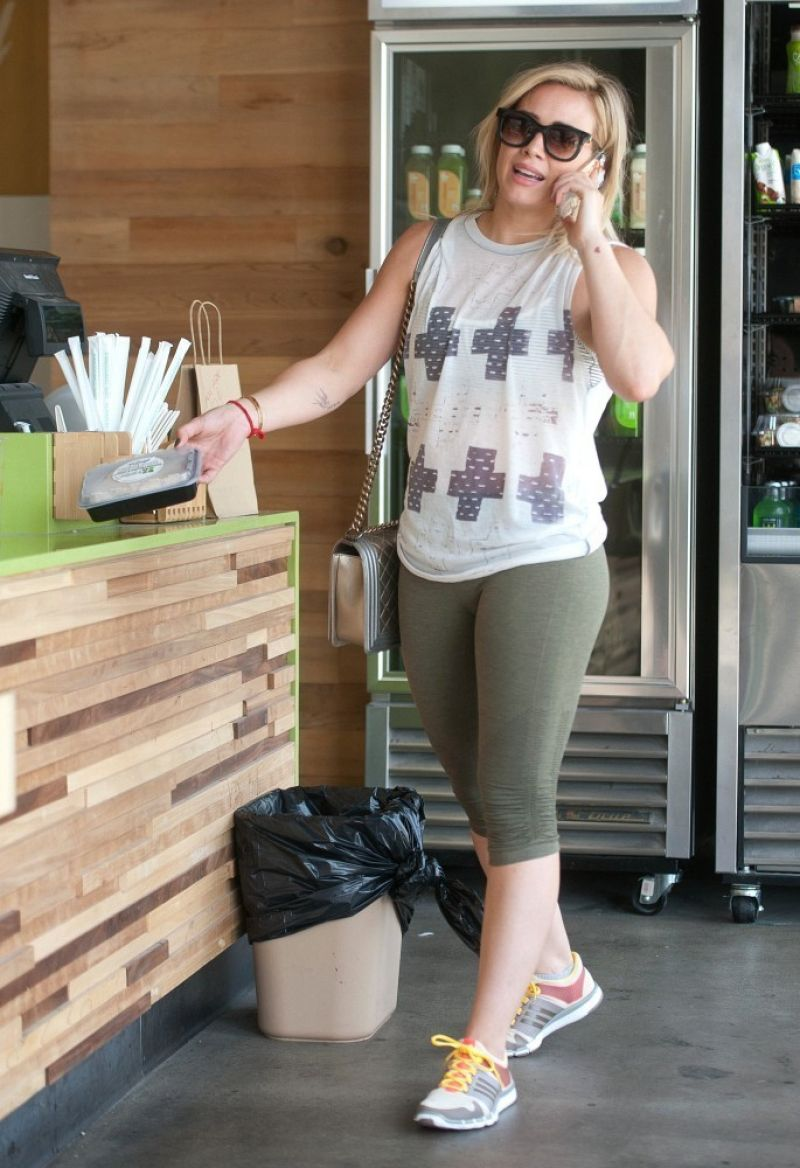 Hilary Duff in Tights - at a Kids Gym in Los Angeles - April 2014