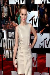 Holland Roden Wearing Salvatore Ferragamo Belted Leather Dress - 2014 MTV Movie Awards